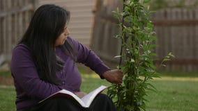 La femme hispanique admire l'arbre tout en tenant la bible clips vidéos