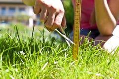 La femme le prend pour faucher la pelouse exactement Photo stock