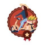 La femme livrent la nourriture d'Eco de la ferme montant rétro le logo de calibre d'isolement de la livraison de scooter par icôn illustration libre de droits