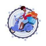 La femme livrent la nourriture montant rétro le logo de calibre d'isolement de la livraison de scooter par icône illustration de vecteur