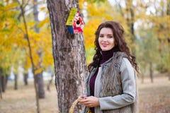 La femme marche en parc d'automne Photos stock