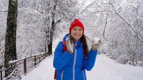 La femme marche le long d'un chemin parmi le paysage couvert de neige de bel hiver Temps givré ensoleillé clair clips vidéos