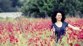 La femme marche par des fleurs de pavots clips vidéos