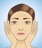 la femme ont le visage vieillissant Image stock