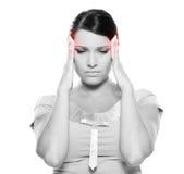 La femme ont un mal de tête Photo libre de droits