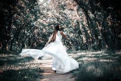 La femme ou la fille, une jeune mariée dans une robe de mariage blanche, se tient en m Photo stock