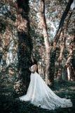 La femme ou la fille, une jeune mariée dans une robe de mariage blanche, se tient en m Image stock