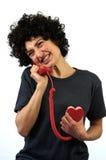 La femme parle au téléphone Photo stock