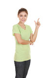 La femme pensent à l'idée avec le T-shirt Images libres de droits