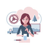 La femme présente un environnement d'entreprise abstrait Images stock