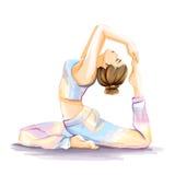 La femme pratique des exercices de yoga Image d'aquarelle Photos libres de droits