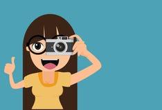 La femme prend des photos illustration stock