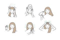 La femme prennent le soin au sujet de ses cheveux Étapes comment appliquer le masque de cheveux illustration libre de droits