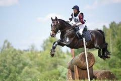 La femme que l'eventer sur le cheval est surmonte la frontière de sécurité de logarithme naturel photo libre de droits