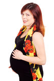 La femme red-haired enceinte photographie stock