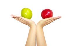 La femme remet des pommes de fixation photo libre de droits