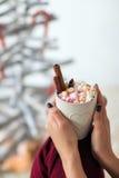 La femme remet tenir la tasse de chocolat chaud avec des guimauves Images stock