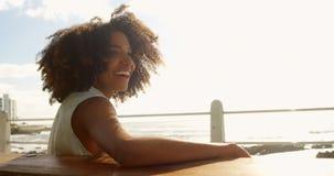 La femme se tenant avec des bras a croisé près de la mer 4k banque de vidéos