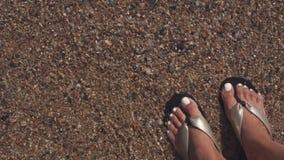 La femme se tient dans l'eau de la mer chaude, le plan rapproché de ses pieds et des chaussures, vue supérieure banque de vidéos