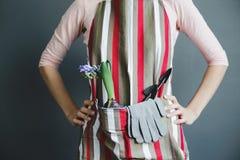 La femme se tient dans le tablier rayé avec l'usine de jacinthe et la pelle en métal Image stock