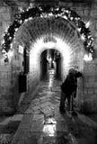 La femme se tient sous la voûte dans Dubrovnik, Croatie Image libre de droits
