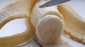 La femme a sexuellement coupé avec un couteau de banane épurée, vue haute étroite de macro banque de vidéos