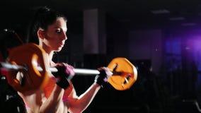 La femme sportive forme des muscles des mains avec un barbell bodybuilding femelle banque de vidéos