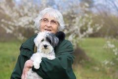 La femme supérieure de sourire avec son chien se garent au printemps Images libres de droits