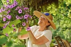 La femme supérieure tend des fleurs Photographie stock libre de droits