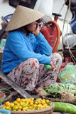 La femme sur le marché du Vietnam Image libre de droits