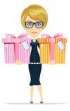 La femme tient des cadeaux pour vous, illustration de vecteur Photographie stock