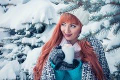 La femme tient la tasse de café avec la guimauve dans la forêt d'hiver photo stock