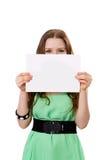 La femme tient une bannière Photos stock