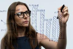 La femme trace les diverses échelles de croissance, perspectives calculatrices pour le suc Photo libre de droits