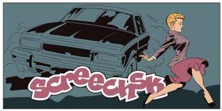 La femme traverse la route devant la voiture illustration libre de droits