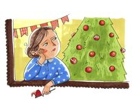 La femme triste se prépare aux vacances de Noël ou la nouvelle année reste n illustration libre de droits