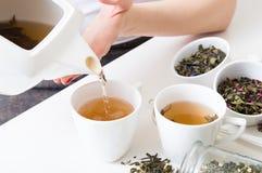 La femme a versé le thé vert chaud dans des tasses Photo libre de droits