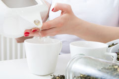 La femme a versé le thé vert chaud dans des tasses Image stock