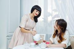 La femme verse l'amie de thé Réception de thé Image stock
