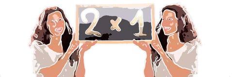 La femmina clona la tenuta della lavagna 2x1 royalty illustrazione gratis
