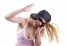 La femmina DJ sta oscillando Fotografie Stock Libere da Diritti