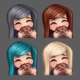 La femmina felice delle icone di emozione mangia il biscotto con i capelli lunghi per le reti sociali e gli autoadesivi illustrazione vettoriale