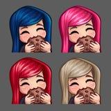 La femmina felice delle icone di emozione mangia il biscotto con i capelli lunghi per le reti sociali e gli autoadesivi Fotografie Stock