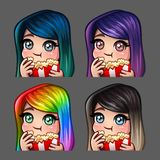 La femmina felice delle icone di emozione mangia il popcorn con i capelli lunghi per le reti sociali e gli autoadesivi Fotografia Stock