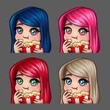 La femmina felice delle icone di emozione mangia il popcorn con i capelli lunghi per le reti sociali e gli autoadesivi Fotografie Stock