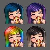 La femmina felice delle icone di emozione mangia la pizza con i capelli lunghi per le reti sociali e gli autoadesivi Fotografia Stock Libera da Diritti
