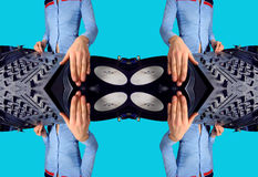 La femmina Funky DJ modella Immagine Stock