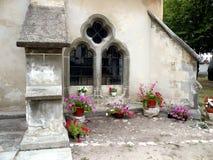 La fenêtre de Bartolomeu (Bartholomä, Bartholomew) a enrichi l'église, Saxon, Roumanie Photo libre de droits