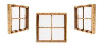 La fenêtre en bois a fermé la vue de l'intérieur d'isolement sur le backgrou blanc Image libre de droits