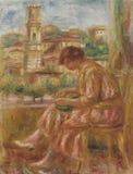 La Fentre Avec Sur Le Vieux Nice Pierres-auguste Renoir-femme A stockbild
